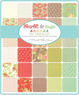 Fig Tree Scarlet and Sage Mini Charm Pack by Fig Tree (20360MC) for Moda - Quilting Cotton Fabric