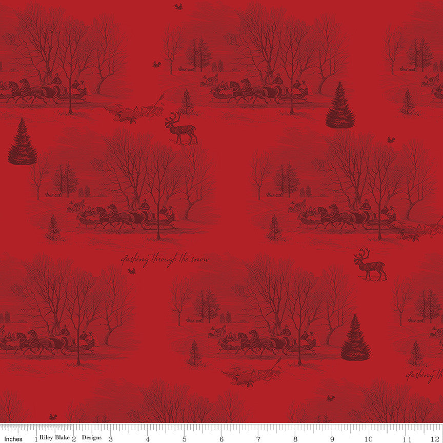 Yuletide Red Sleigh Toile Yardage C9631 RED