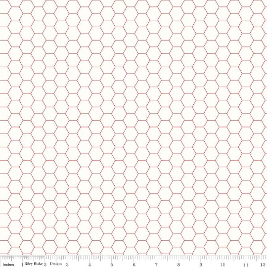 Bee Backgrounds Red Honeycomb Yardage (C6387 RED)