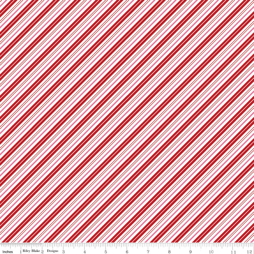 Santa Claus Lane Red Stripes Yardage C9616 RED