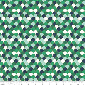 Ahoy! Mermaids  Green Sparkle Scales Yardage | SKU #SC10345-GREEN - Stitches n Giggles