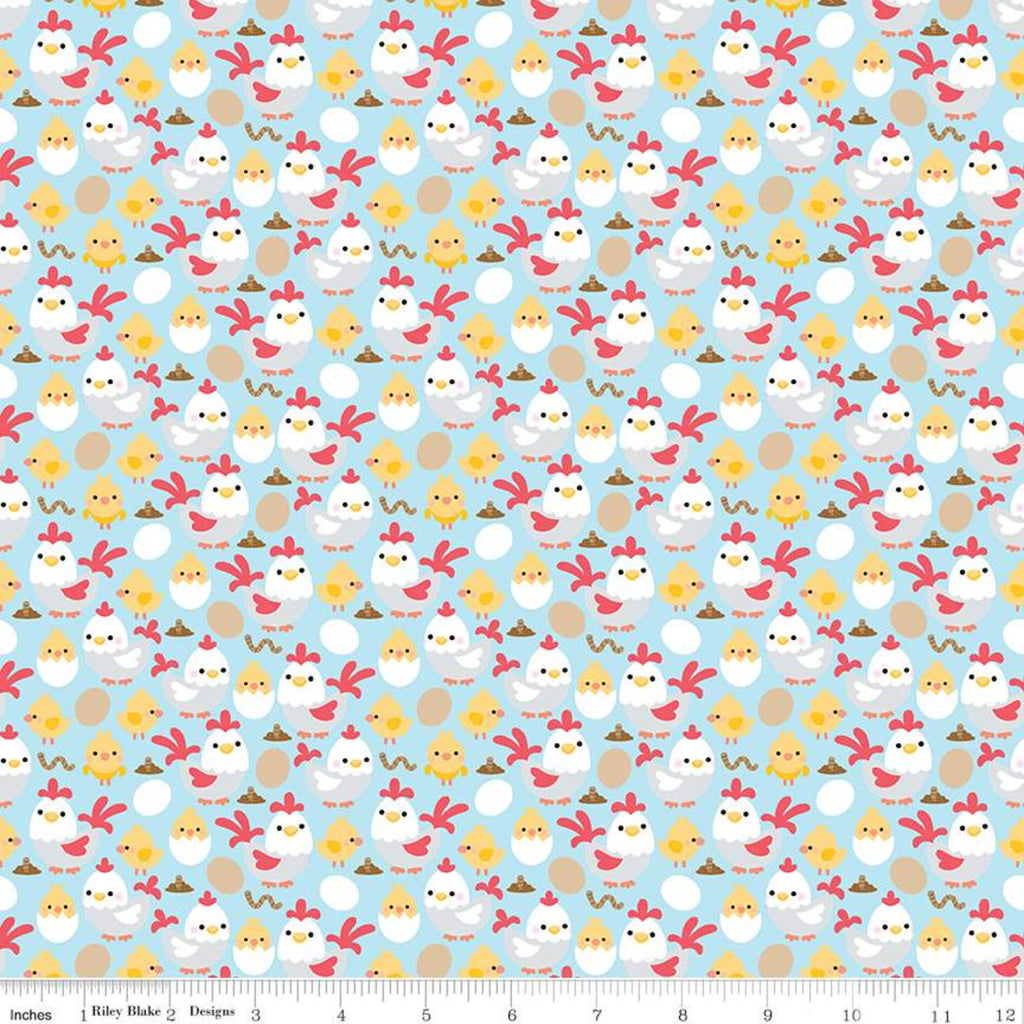 Down On The Farm Blue Chickens Yardage (C10074 BLUE)