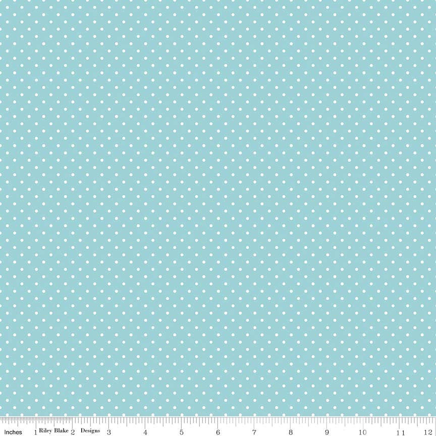 White Swiss Dots on Aqua (C670-20)