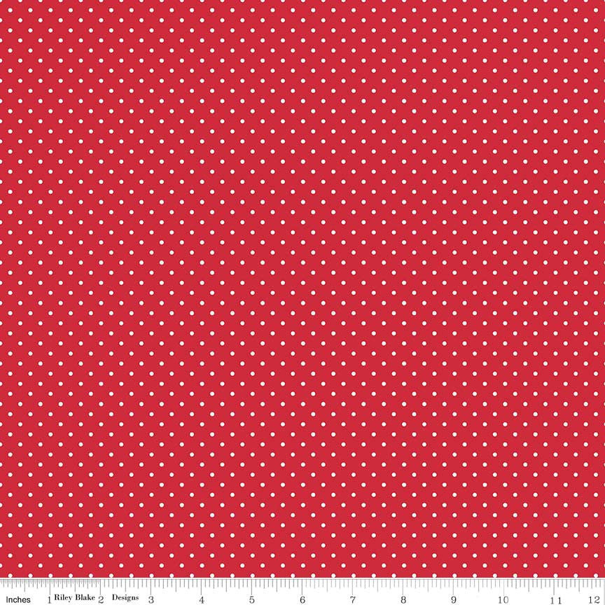 White Swiss Dot on Red by Riley Blake Designs  (C670 80) Swiss Dot Fabric - Cut Options Available  - Printed Dots, Not Raised!