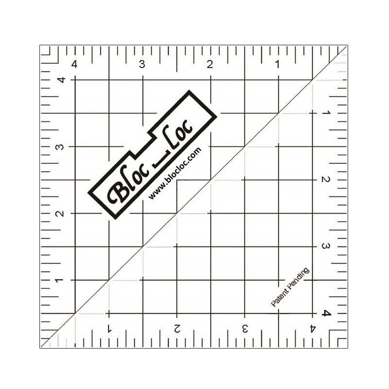 "Bloc-Loc 4.5"" Inch Ruler - Half Square Triangle Ruler - Square Up Ruler for HST - Quilting Tool"
