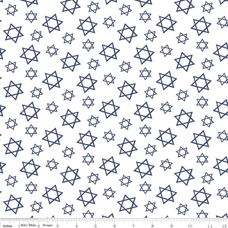 Festival of Lights White Star of David Yardage (C9653 WHITE)