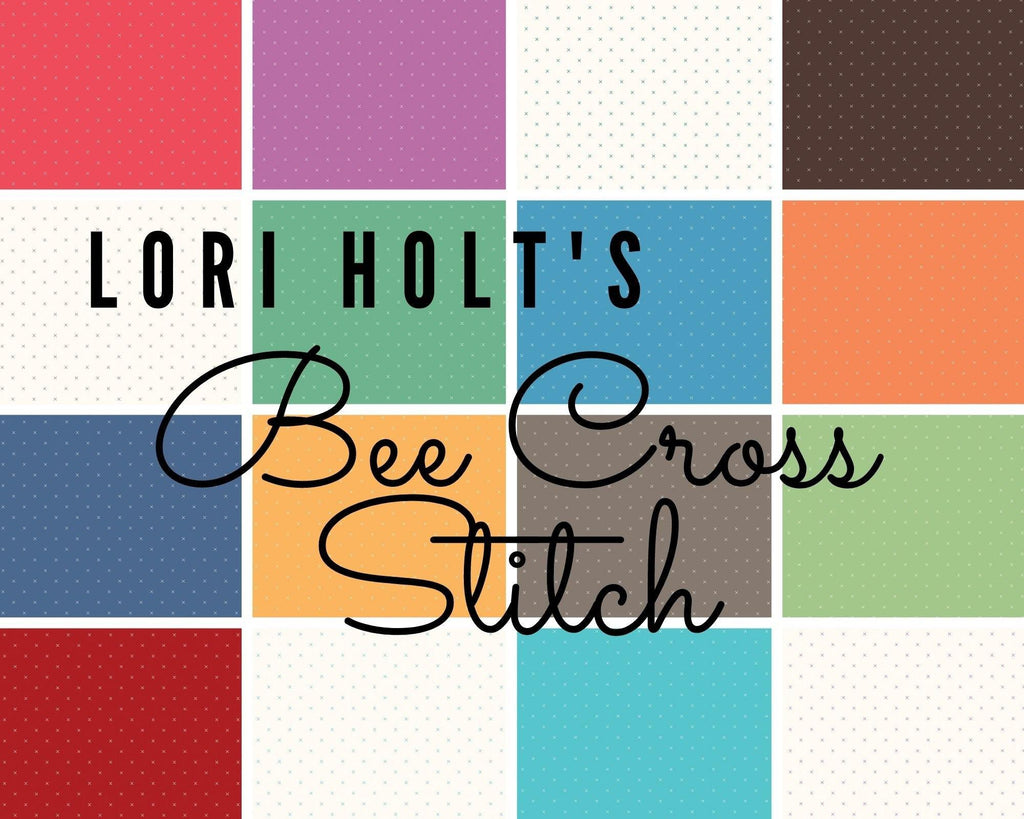 Lori Holt's Denim Bee Cross Stitch | SKU #C745-DENIM - Stitches n Giggles
