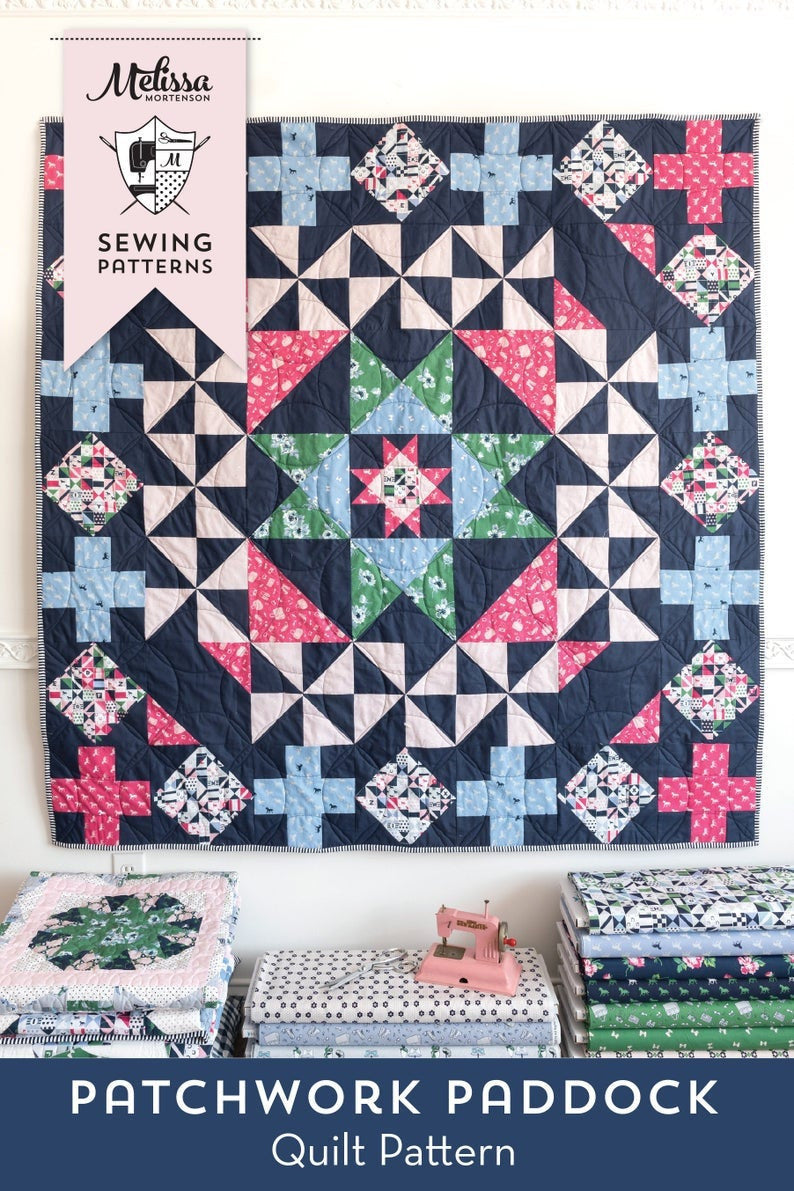 "Patchwork Paddock Quilt Pattern by Melissa Mortenson (The Polka Dot Chair) - 63"" x 63"""