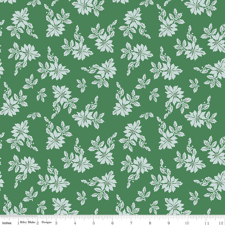 Santa Claus Lane Green Poinsettias Yardage C9611 GREEN