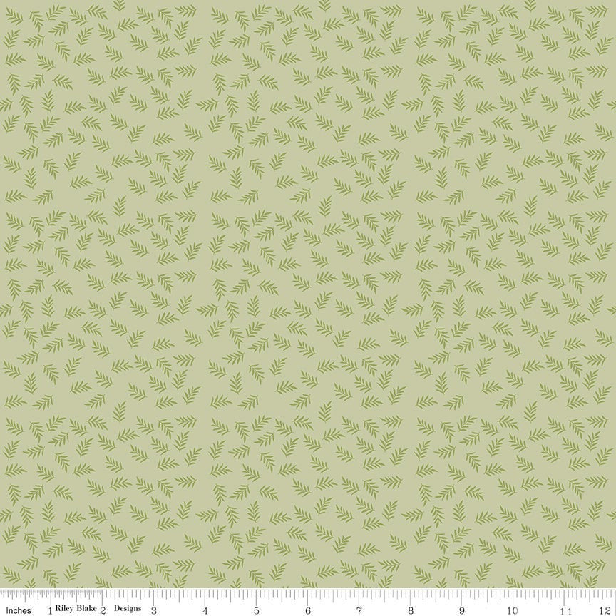 Modern Farmhouse Green Fern Leaves by Simple Simon and Co. (C9463 GREEN)