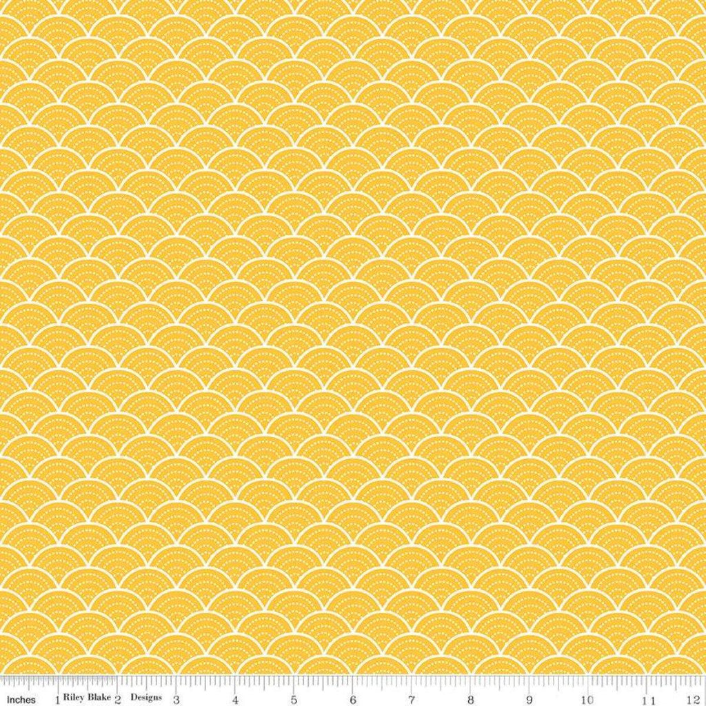 Pure Delight Yellow Scallops Yardage (C10092 YELLOW) - Stitches n Giggles