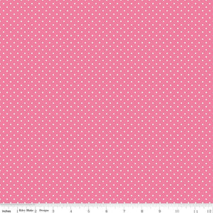 White Swiss Dot on Hot Pink (C670 70) by Riley Blake Designs
