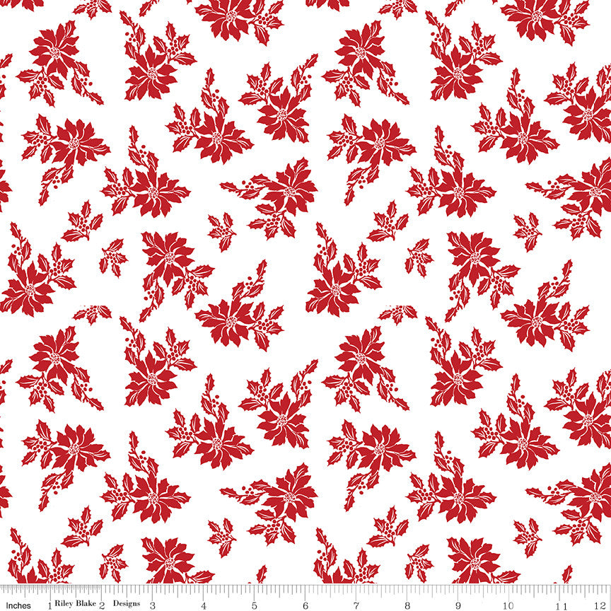 Santa Claus Lane White Poinsettias Yardage C9611 WHITE