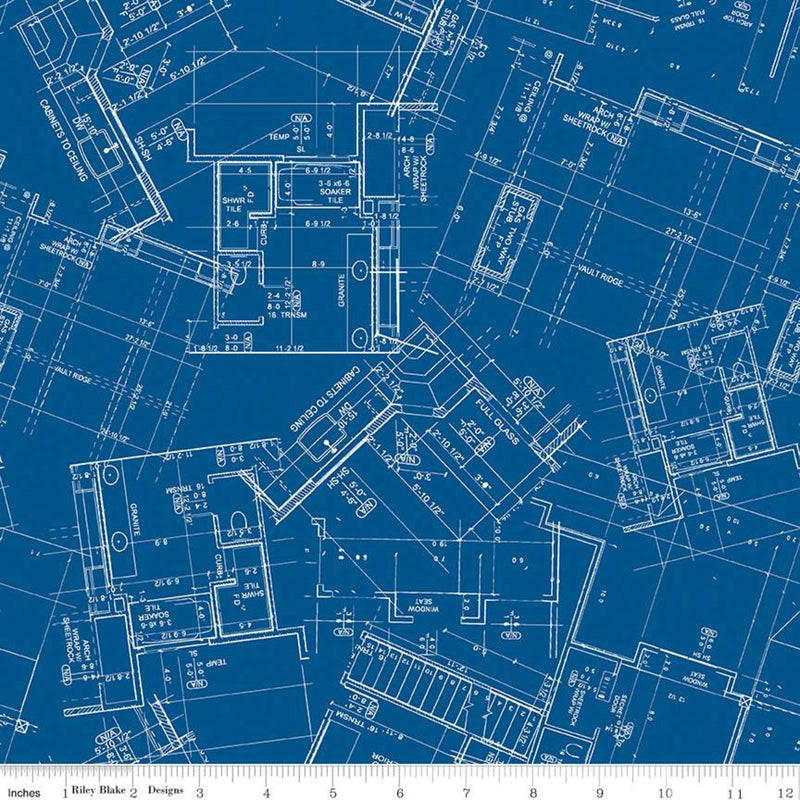 Conservatory Dark Blue Blueprint Yardage C9621 DKBLUE