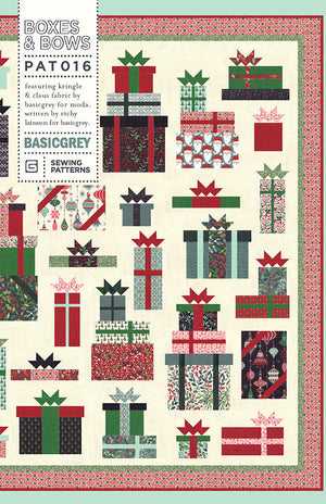 "Boxes and Bows Quilt Pattern by Basic Grey for Moda Fabrics - Finished size: 69"" x 84"" - Christmas Quilt Pattern"