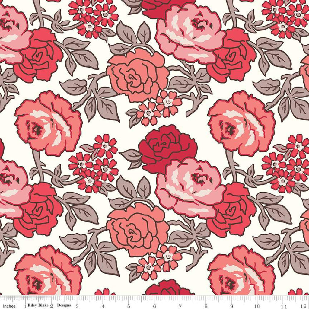 Lori Holt's Flea Market Red Roses Yardage (WB10232 RED)
