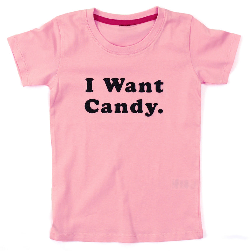 Kid's T-Shirt - I Want Candy - Pink
