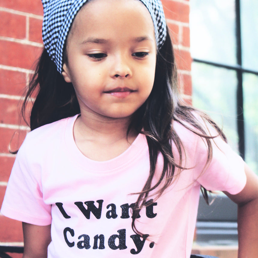 Toddler T-shirt - I Want Candy - Pink