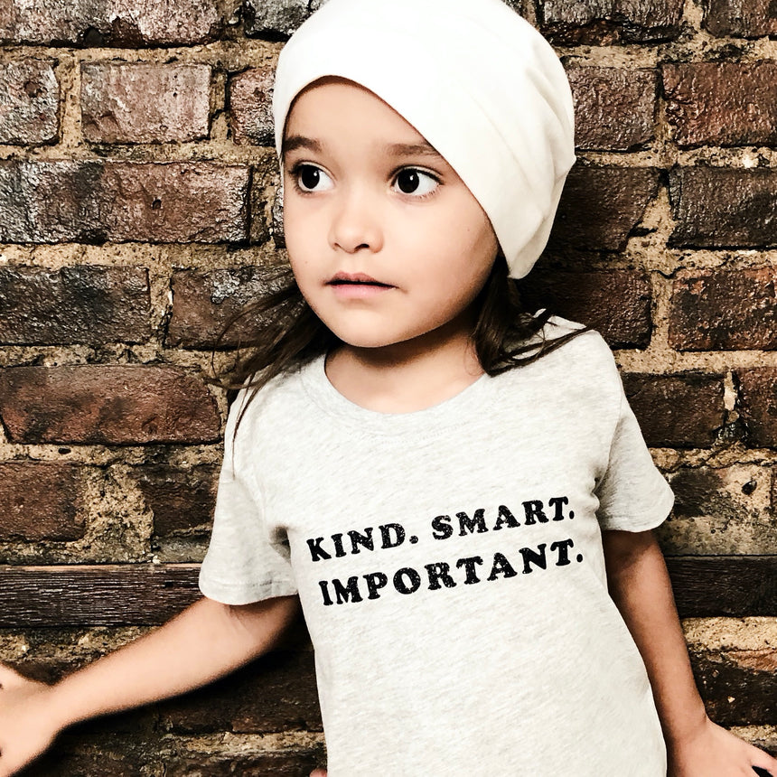 Toddler T-Shirt - Kind Smart Important - Gray