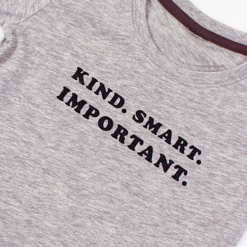Kid's T-Shirt - Kind Smart Important - Gray