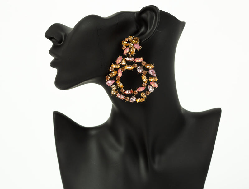 Pink & Yellow Crystal Earrings
