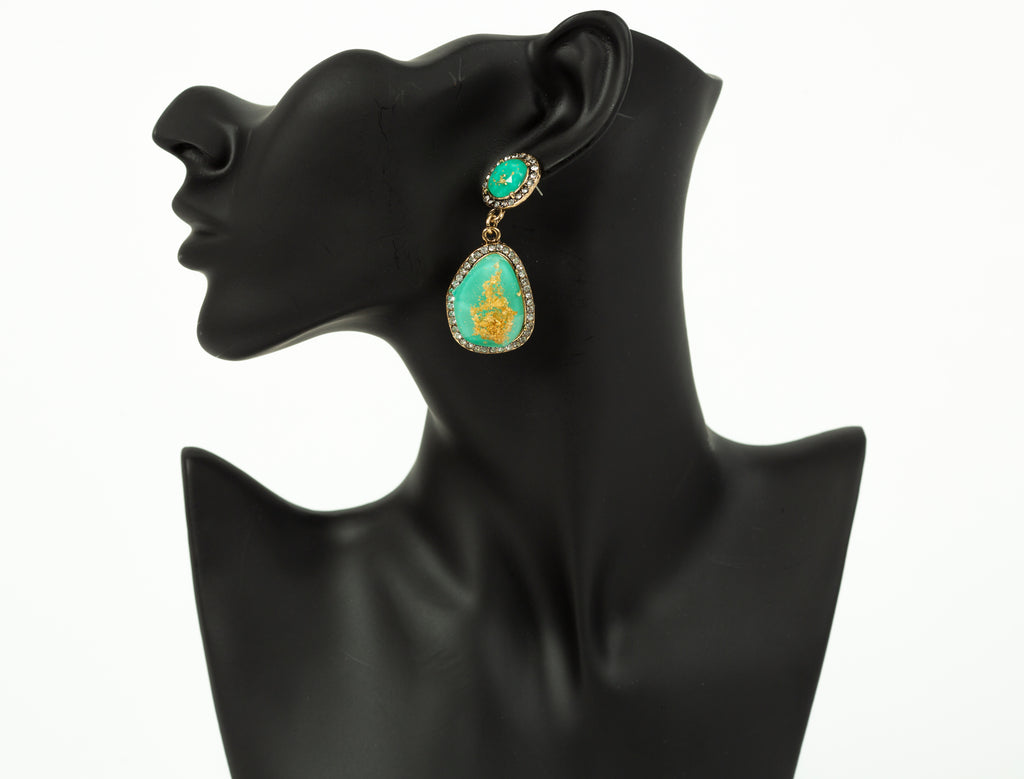 Green & Gold Gem Earrings