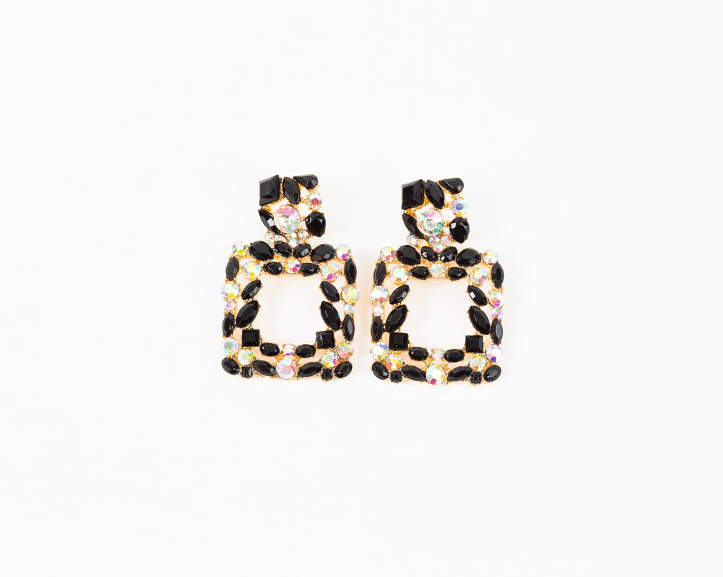 Black & White Gem Earrings