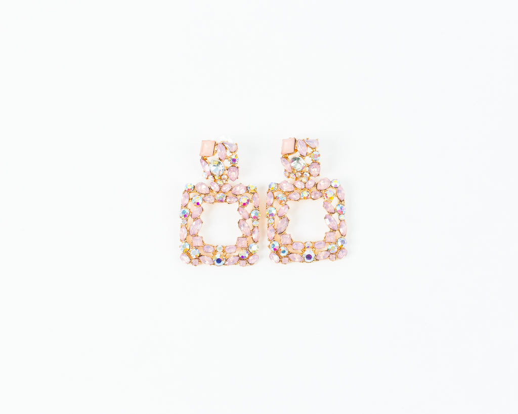Pink Blinged Out Square Earrings