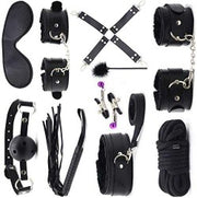 Sex Kit -Erotic Pu Leather - 10 Pcs - Toys for Adult-Things for Couples Lovers Sex Games