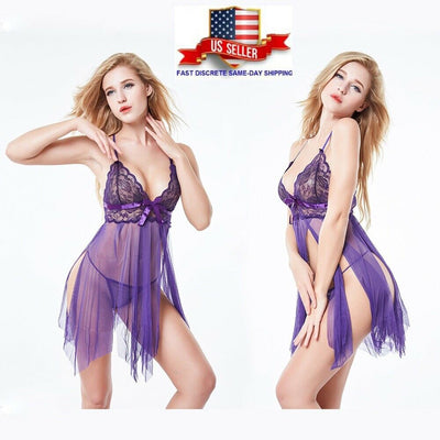 Sexy Lingerie For Women- Hot Revealing Open Chest Transparent Lingerie - Purple