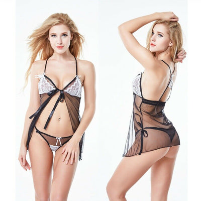 Sexy Lingerie For Women- Lace Sexy Sleepwear Lingerie Babydoll- Black and White