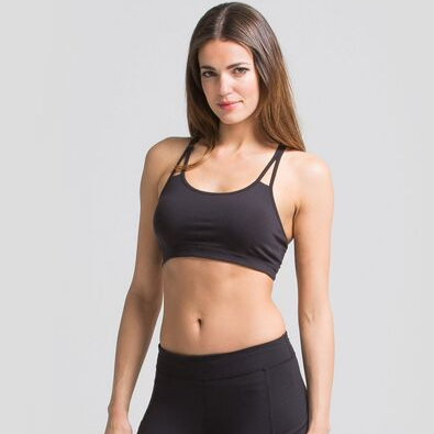 womens black sports bra with strappy back details