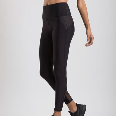 womens performance leggings with lace and perforated details