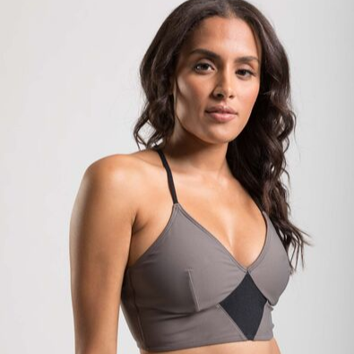 womens sports bra with deep v-neck and back metal accent