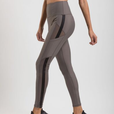 stylish womens leggings with side pockets and mesh detail