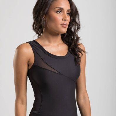 womens fitted black performance tank top with mesh insert details