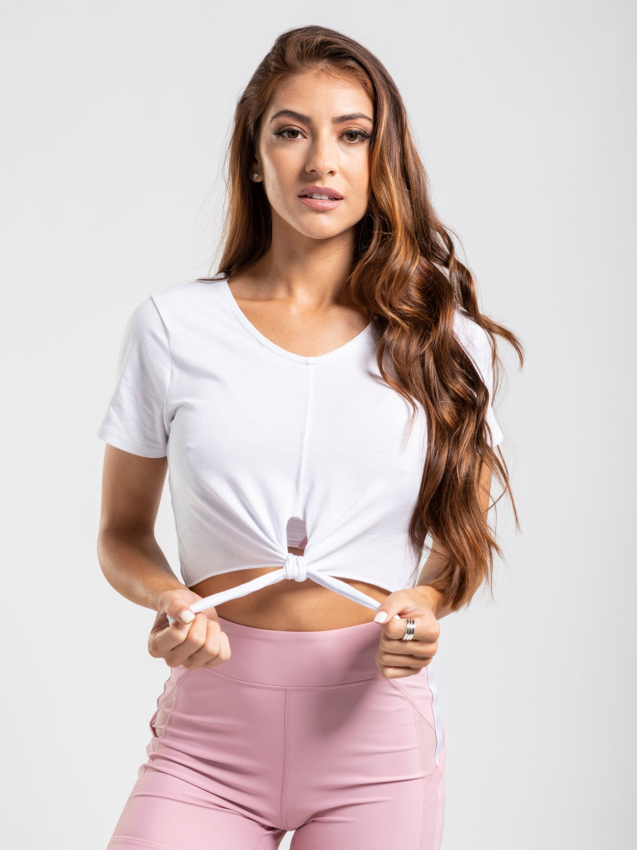 Scoop neck tie front crop top.