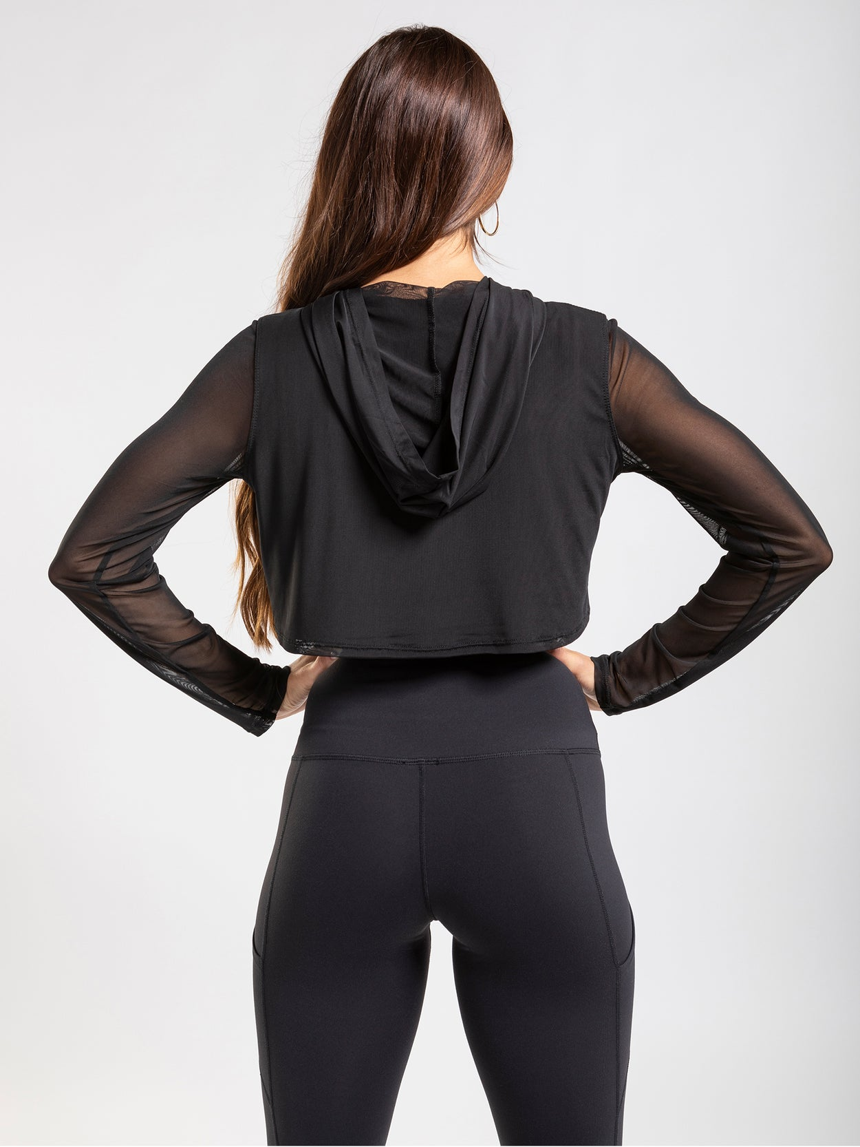 Black, mesh, hooded, pullover top with sheer long sleeves.