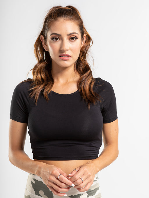 Black scoop neck crop top made from bamboo fabric.