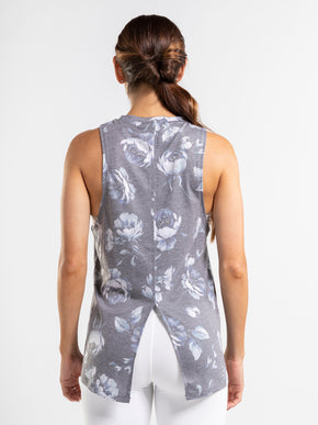 Blue, gray & white floral print tie back tank top.