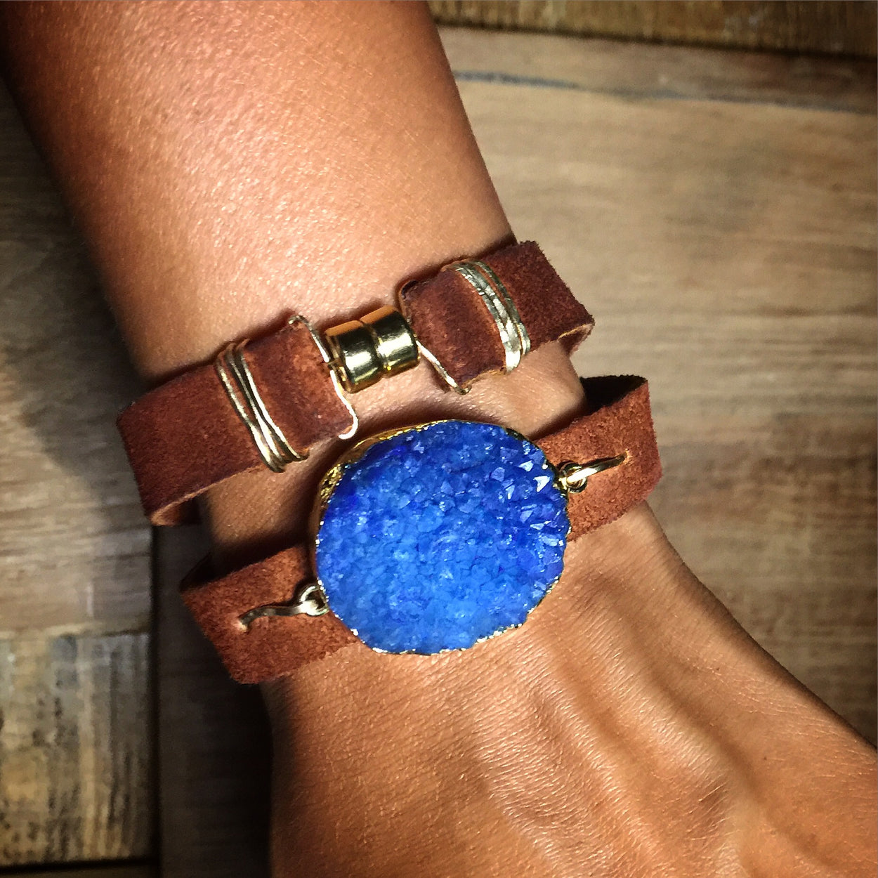 Druzy n' Leather Wrap Bracelet/Choker by GypsyPosh