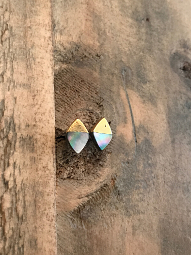 Abalone Gold Dipped Studs by GypsyPosh