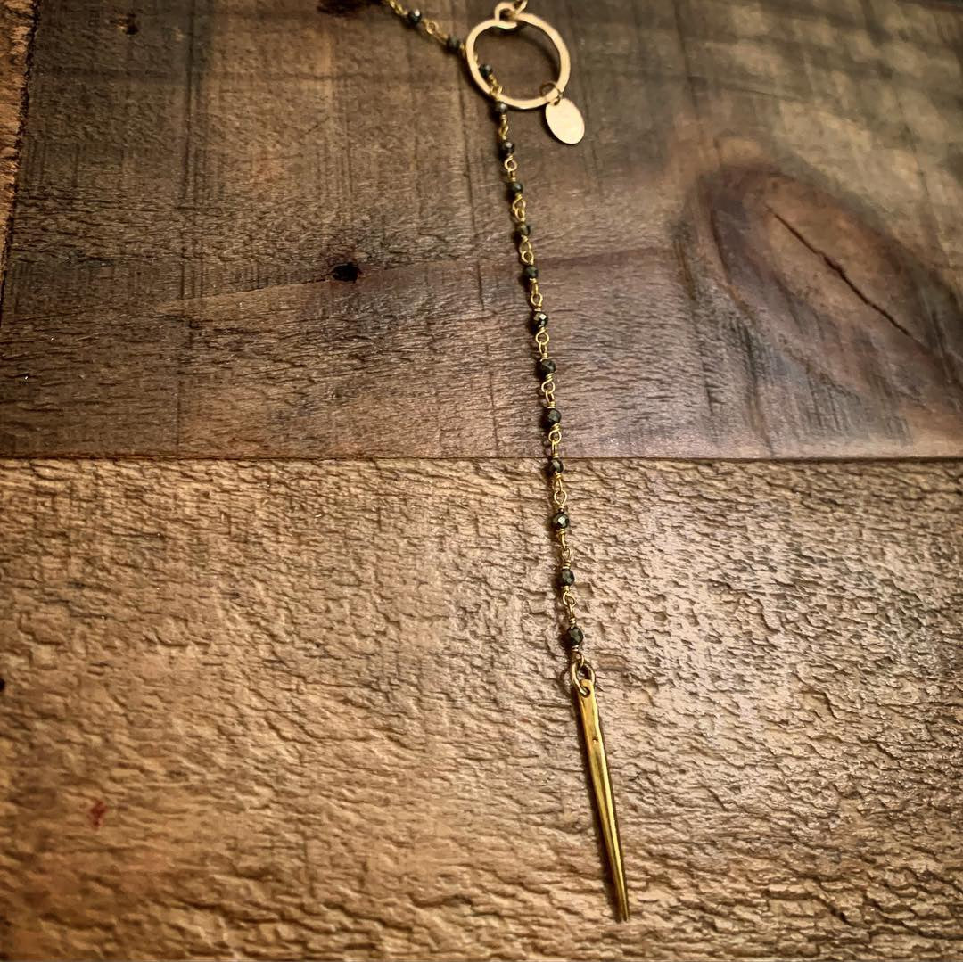 Whisped Pyrite and Stone Lariat by GypsyPosh