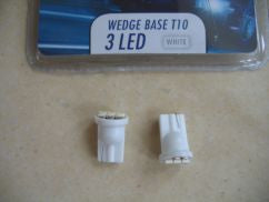 2 x 24 VOLT WHITE 3 LED CAPLESS BULB (T10)
