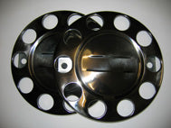 PAIR WHEEL NUT COVERS WITH CENTRE