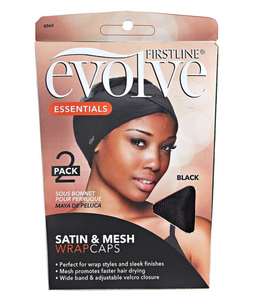 Evolve Satin & Mesh Wrap Cap 2 Pack (Black)