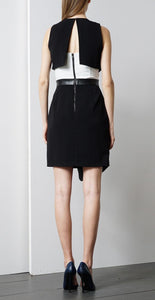 ADELYN RAE TWOFER DRESS WITH FAUX LEATHER CONTRAST
