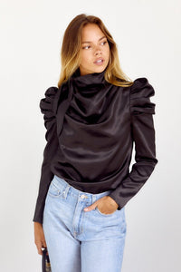 TIE NECK PUFF SLEEVE BLOUSE
