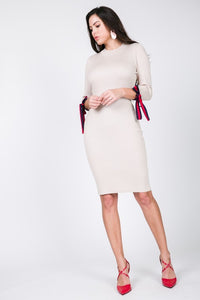 RIBBON TIE SWEATER DRESS