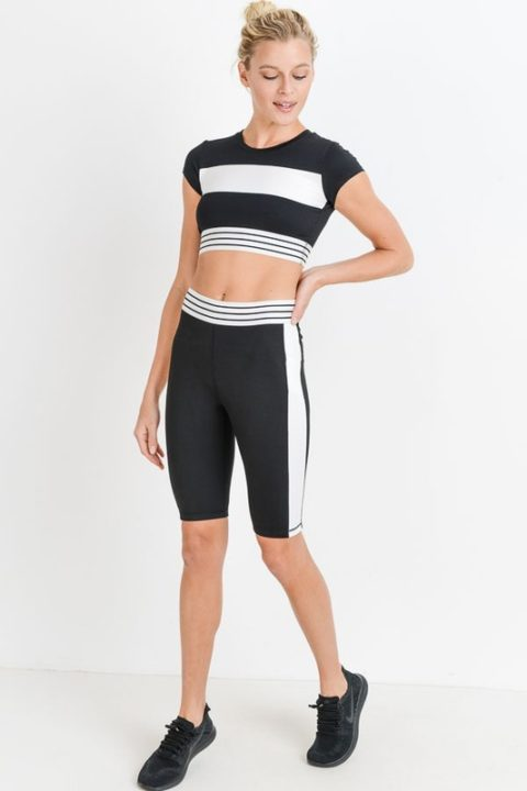 HIGHWAIST COLORBLOCK STRIPED BAND ACTIVE CROP BIKER SHORT SET